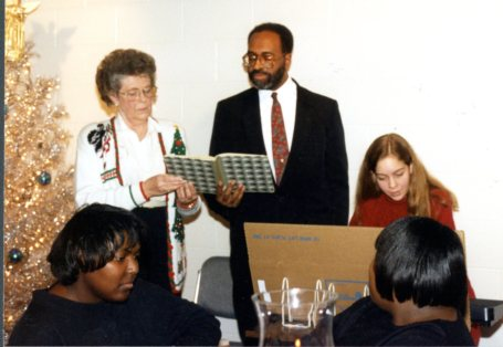 Sharing his wonderful voice at the Library's staff Christmas party in 1994.