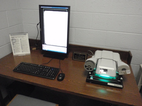 The new digital microfilm reader/scanner setup in the Tennessee Room.